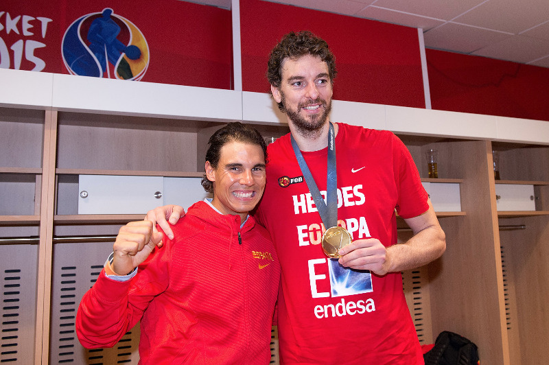 4. Pau Gasol (Spain) and tennis legend Rafael Nadal